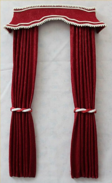 Exclusive Red Pagoda Pelmet Curtains with White Trim